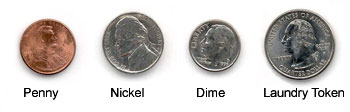 Penny, Nickel, Dime, Laundry Token